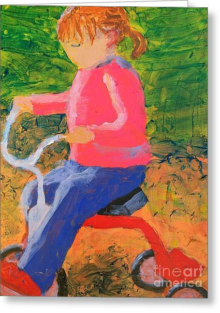 Greeting Card featuring the painting Tricycle by Donald J Ryker III