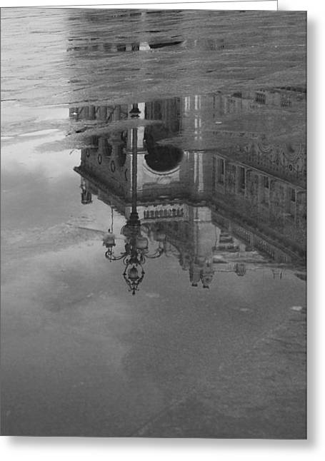 Trieste Reflection In Mono Greeting Card by Graham Hawcroft pixsellpix