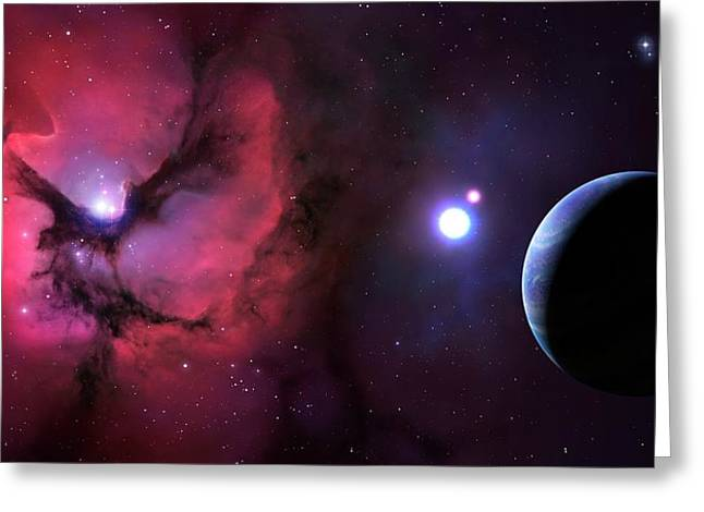 Trifid Nebula Seen From Nearby Planet Greeting Card