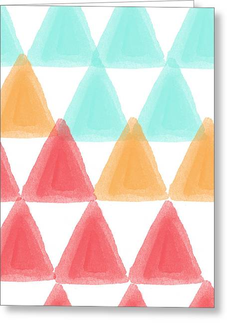 Trifold- Colorful Abstract Pattern Painting Greeting Card by Linda Woods