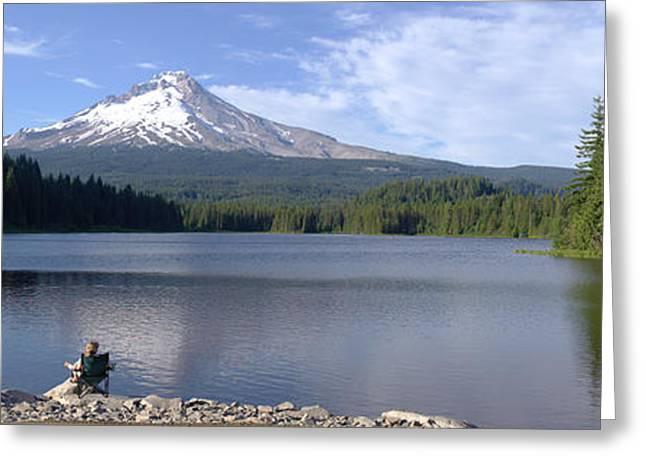 Trillium Lake And Mt Hood Panorama Oregon. Greeting Card by Gino Rigucci