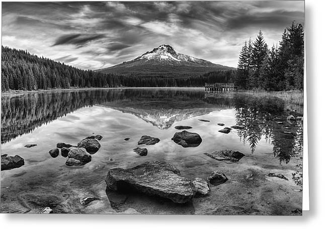 Trillium Lake Black And White Greeting Card