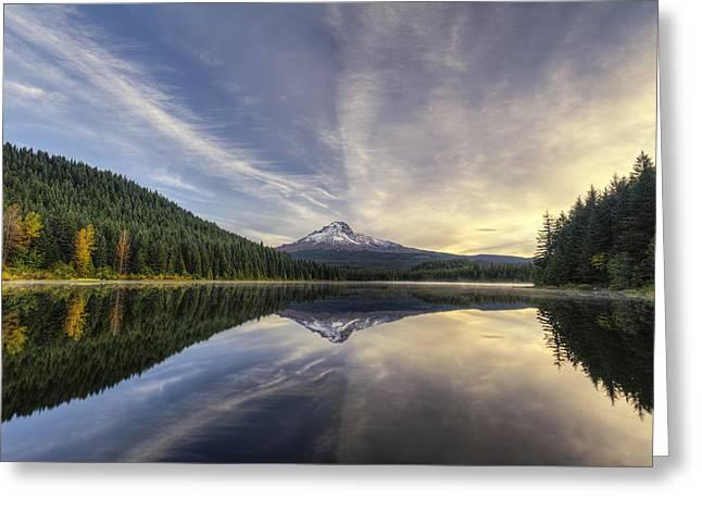 Trillium Lake Greeting Card by Mark Kiver