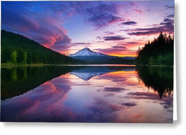 Trillium Lake Sunrise Greeting Card by Darren  White