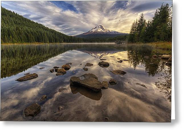 Trillium Reflection Greeting Card by Mark Kiver