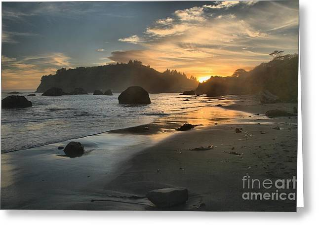 Trinidad Sunset Reflections Greeting Card by Adam Jewell
