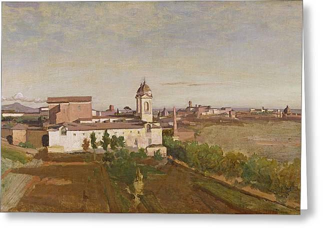 Trinita Dei Monti From The Villa Medici Greeting Card by Jean Baptiste Camille Corot
