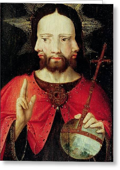 Trinitarian Christ, C.1500 Oil On Panel Greeting Card by Flemish School