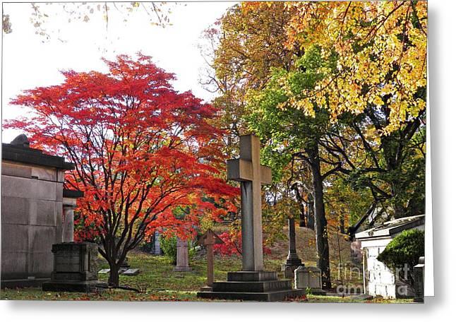 Trinity Cemetery Greeting Card by Sarah Loft