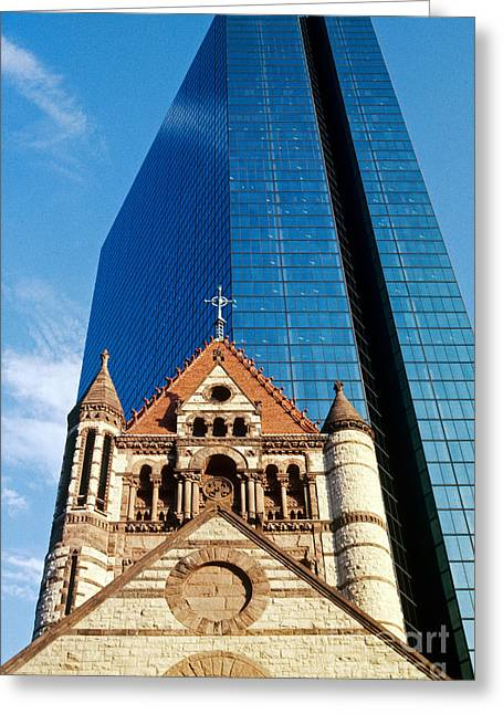 Trinity Church And Hancock Tower Greeting Card