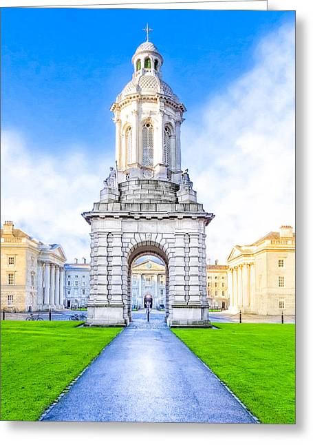 Greeting Card featuring the photograph Trinity College Campanille - Dublin Ireland by Mark E Tisdale