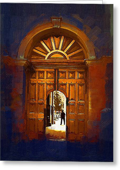 Trinity College Door Greeting Card by Michael Walsh