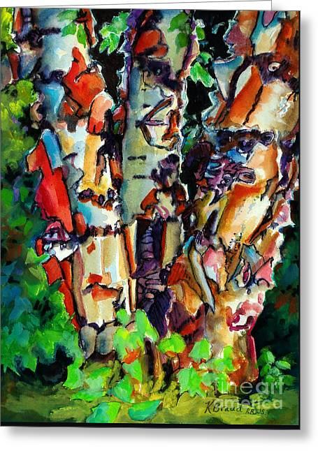 Trio Birch 2014 Greeting Card by Kathy Braud