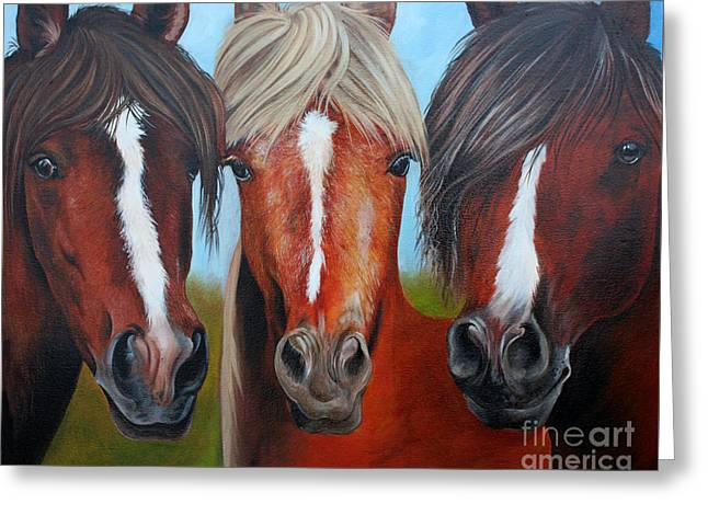 Greeting Card featuring the painting Trio by Debbie Hart