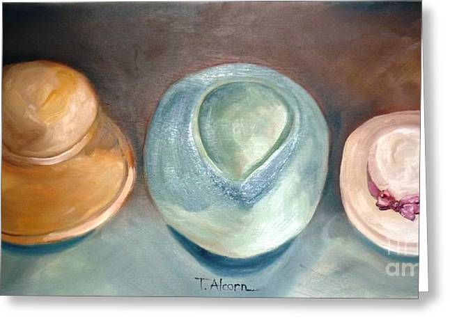 Greeting Card featuring the painting Trio Of Hats - Original Sold by Therese Alcorn