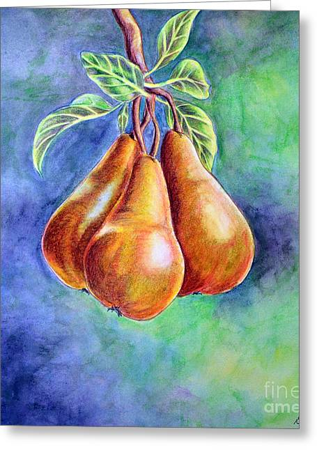 Trio Of Pears Greeting Card by Dion Dior