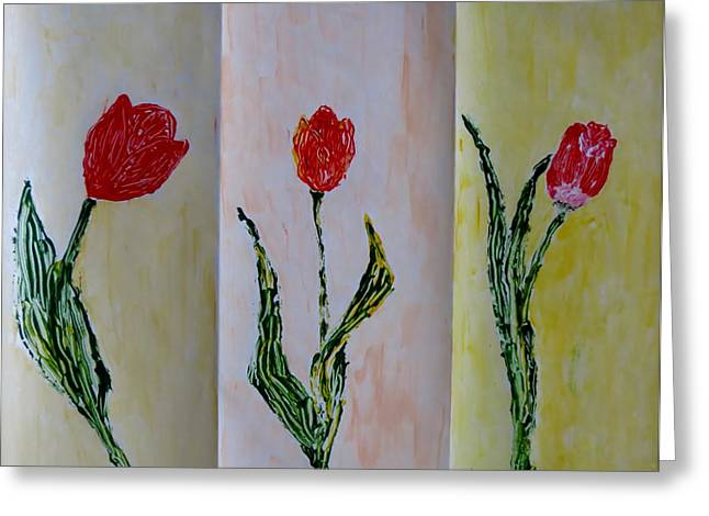 Trio Of  Red Tulips Greeting Card by Sonali Gangane