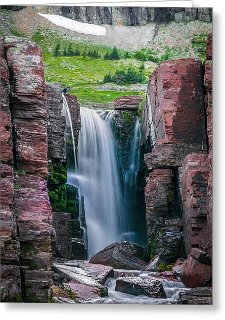 Clean Water Greeting Cards - Triple Falls Glacier National Park  Greeting Card by Rich Franco