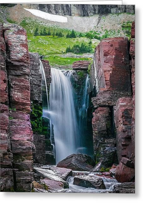 Triple Falls Glacier National Park  Greeting Card by Rich Franco