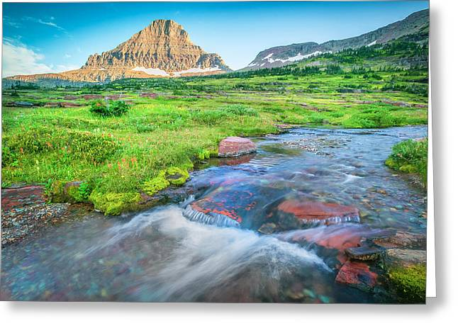 Clean Water Greeting Cards - Triple Falls Stream Glacier National Park Greeting Card by Rich Franco