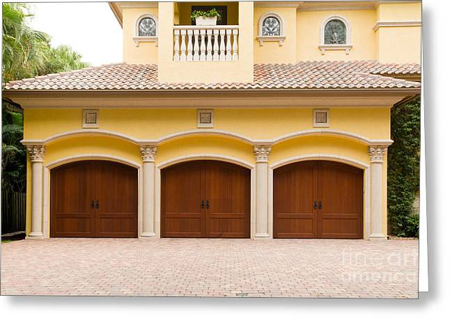 Triple Garage Doors Greeting Card