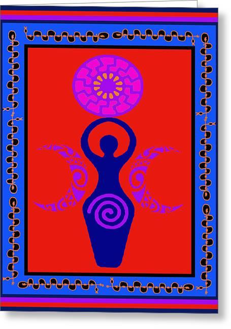 Greeting Card featuring the digital art Triple Goddess by Vagabond Folk Art - Virginia Vivier
