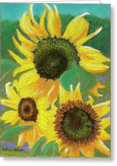 Triple Gold Greeting Card by Arlene Crafton