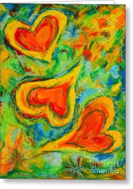 Triple Hearts Greeting Card by Kelly Athena
