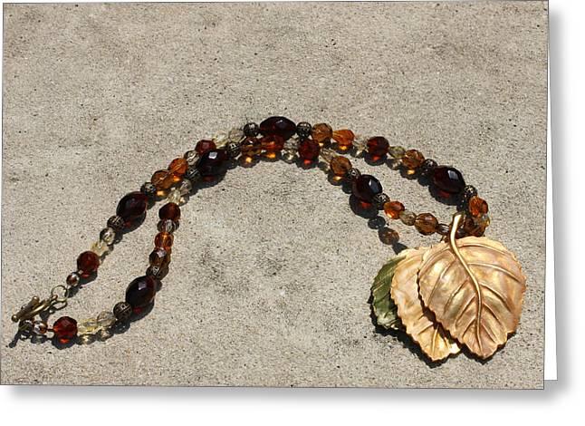 Triple Leaf Costume Brooch Pendant Necklace 3637 Greeting Card