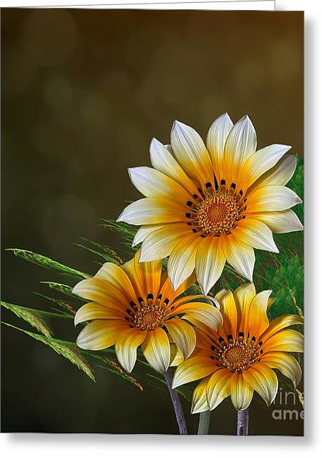 Greeting Card featuring the digital art Triple Sunshine by Shirley Mangini