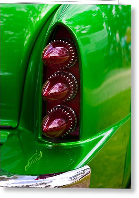 Triple Vertical Tail Lights Greeting Card by Mick Flynn