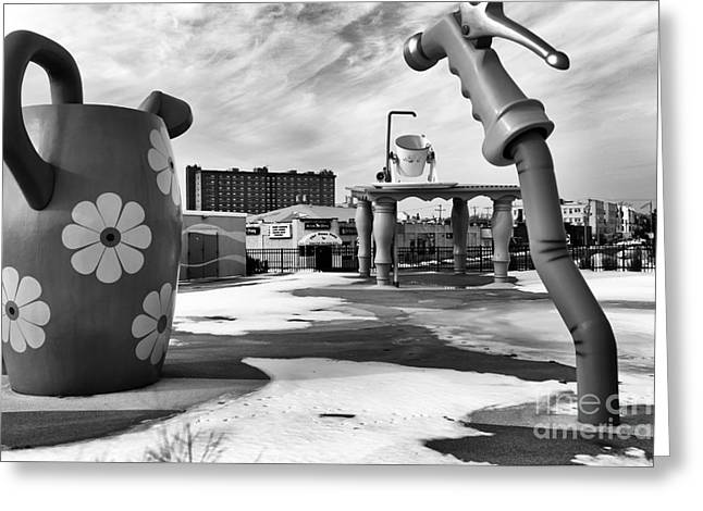 Tripping In Asbury Park Mono Greeting Card by John Rizzuto