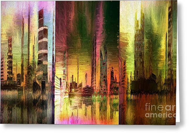 Triptych Cityscape Mixed Media Painting Greeting Card