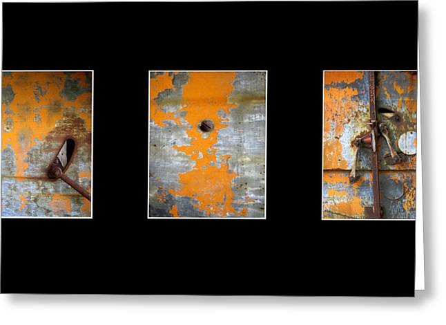 Triptych Old Metal Series Greeting Card by Ann Powell