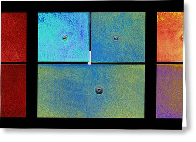 Triptych Red Cyan Purple - Colorful Rust Greeting Card