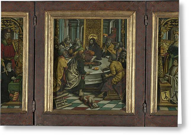 Triptych With The Last Supper And Donors Greeting Card by Litz Collection
