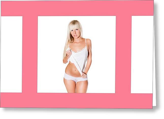 Triptychon Beautiful Nude Blonde 3 Greeting Card by Jochen Schoenfeld