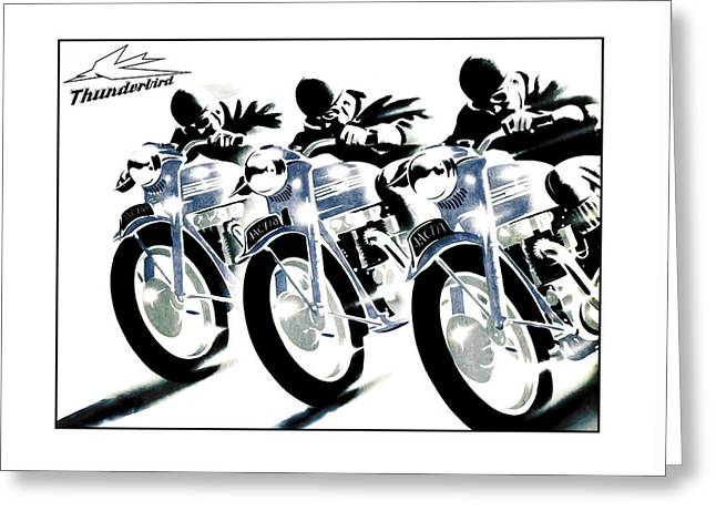 Triumph Thunderbird Trio Greeting Card by Mark Rogan