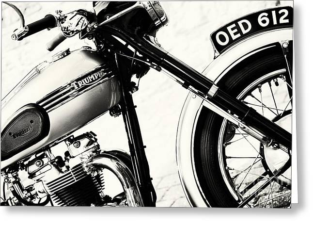 Triumph Tiger T110 Motorcycle Toned Greeting Card by Tim Gainey