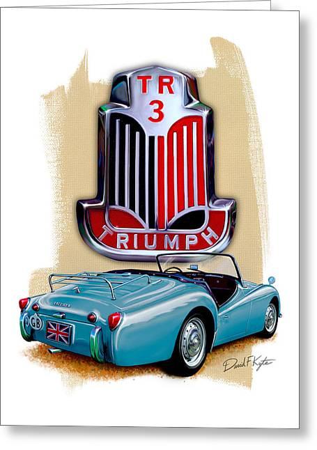 Triumph Tr_3 Sports Car In Blue Greeting Card by David Kyte