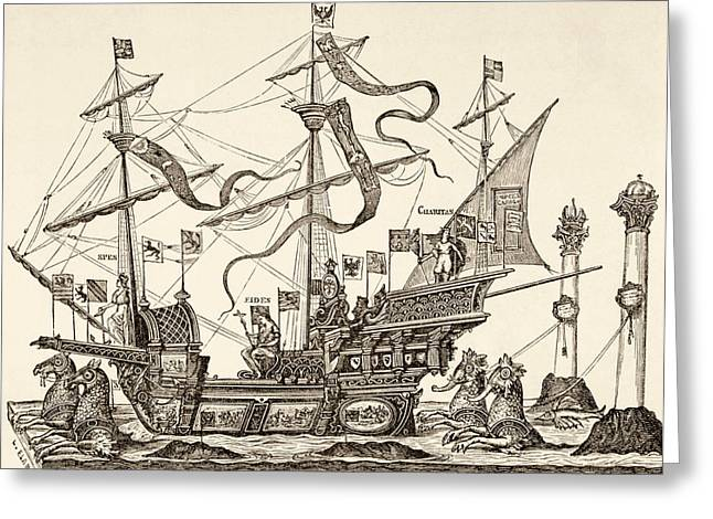 Triumphal Vessel Greeting Card by French School
