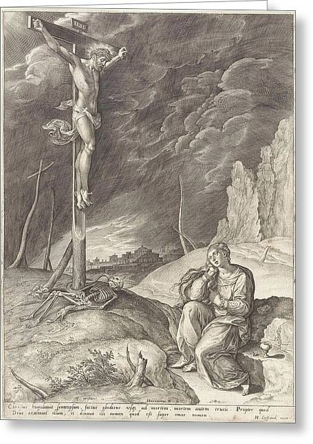 Triumphant Christ On The Cross, Hieronymus Wierix Greeting Card