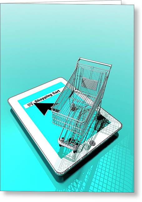 Trolley And Digital Tablet Greeting Card by Victor Habbick Visions
