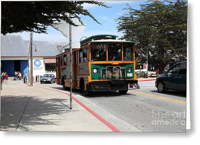 Trolley At The Monterey Bay Aquarium On Monterey Cannery Row California 5d25105 Greeting Card