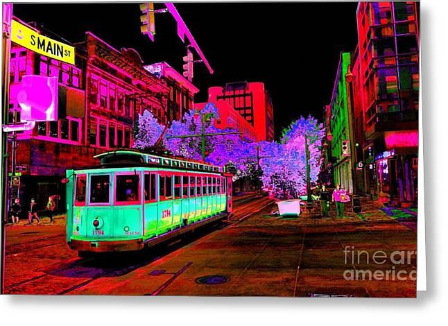 Trolley Night Digital  Greeting Card