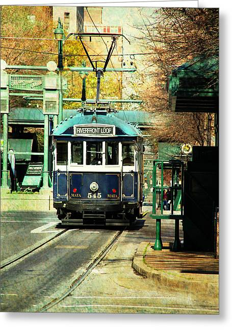 Trolley Stop Memphis Greeting Card by Suzanne Barber