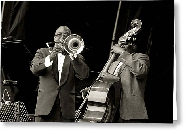 Trombone And Bass Greeting Card by Tony Reddington