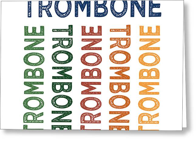 Trombone Cute Colorful Greeting Card by Flo Karp
