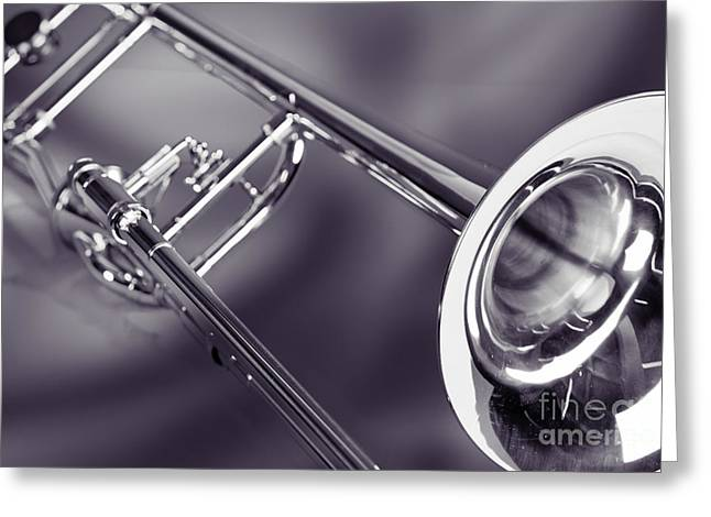 Trombone In Black And White Sepia Color 3204.01 Greeting Card by M K  Miller
