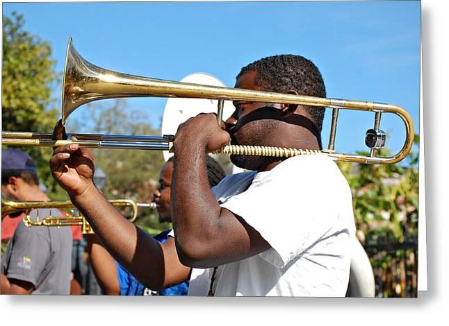 Trombone Man Greeting Card by Steve Harrington